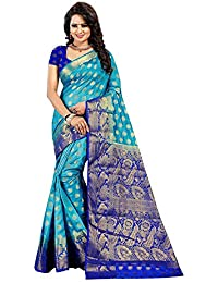 Dealsure Women's Multicolor Banarasi Saree with Blouse Piece.