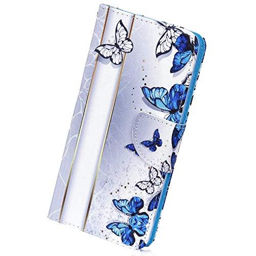 Herbests compatibile con Samsung Galaxy A20e Pelle Custodia Flip Case Portafoglio Cover Antiurto Divertenti Carino Colorate Dipinto Custodia Caso con Carta di Credito Slots, Farfalla Blu