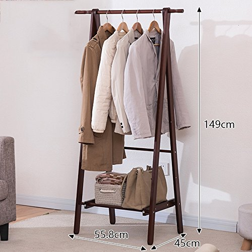 Kiefer Ecke Rack (YJ European Style Floor Standing Coat Rack Baum Massiv Holz Holz 149cm151cm Double Rod Typ Movable Hanger ( Farbe : Braun , größe : 149cm ))