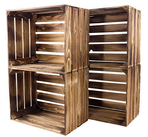 Kontorei® geflammte/braune Apfelkisten 50cm x 40cm x 30cm 4er Set Holzkisten Weinkisten Obstkiste Kiste Box