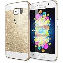Samsung Galaxy S6 Edge Plus Funda Carcasa de NICA, Protectora Movil Purpurina Cubierta Dura Delgado Glitter Hard-Case, Bumper Cover Lentejuela Ultra-Fina para Telefono Samsung S6 Edge+ - Gold Oro