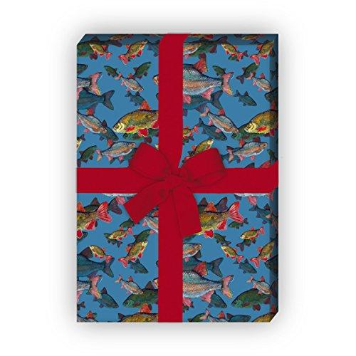 Edles Geschenkpapier Set (4 Bogen)   Dekorpapier mit Fischen unter Wasser für tolle Geschenk Verpackung zur Taufe, Geburt, Ostern, Geburtstag, Hochzeit, Weihnachten u.v.m. 32 x 48cm, auf blau