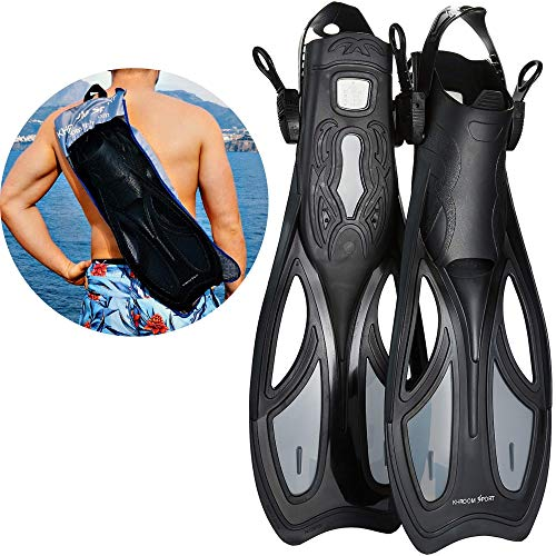 Khroom Flossen mit Verstellbarer Ferse für Erwachsene und Flossentasche zum umhängen | Unisex für Damen und Herren (44-48)