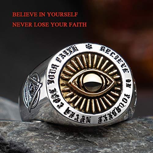 AXJr Punk Ring Hohl 925 Sterling Silber Freemason Freimaurer Alle Seeing Eye & Skull & Crossbones Ring für Männer Frauen Einstellbare Größe O-V 1/2 Punk Ringe