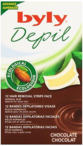 Byly Depil Bandes Cire Pour Le Visage, Chocolat - 12 Unités