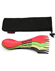 Plastic Spork - 4 Pack - Lightweight & Strong all in one Spoon, Fork, Knife Cutlery includes Storage Bag from Wild Peak ▲