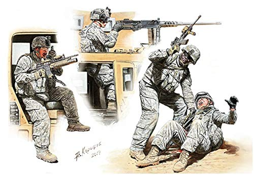1/35 US, Arbeits Soldat 4 Koerper Mittlerer Osten Afghanistan-Krieg - das Auto auf der Suche -1 Menschen verletzt