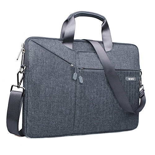 15,6 Zoll Laptop Notebook Schultertasche, EKOOS 3 Way Business Aktenkoffer Tasche Hülle Sleeve Einfache Stil Wasserdichte Nylon Stoff Notebook Sleeve für Macbook ThinkPad Dell HP Acer ASUS Toshiba Samsung Chromebook Notebook Ultrabook Laptop (15,6, Grau)