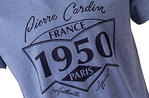 "Pierre Cardin Mens Neue Saison klassische Passform ""1950"" T-Shirt Blau Marl"