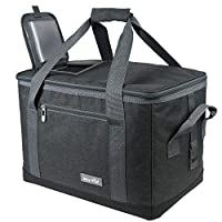 Hap Tim Soft Cooler Bag 40-Can Large Reusable Grocery Bags Soft Sided Collapsible Travel Cooler for Outdoor Travel Hiking Beach Picnic BBQ Party (AE13634-Dark Grey)