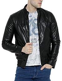 Bareskin men's black leather bomber jacket