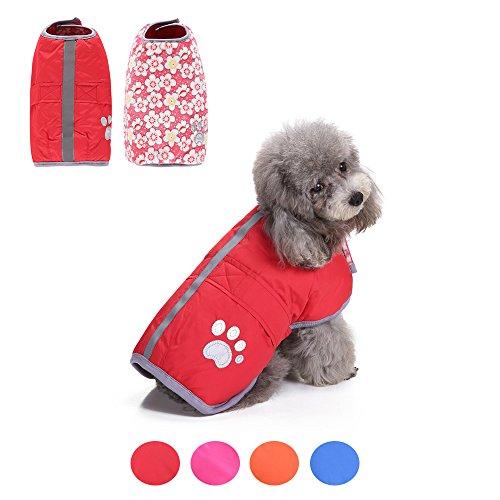Hongyh - Chaleco impermeable para perro con forro polar de invierno para el frío, suave y reversible
