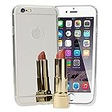NALIA Spiegel-Handyhülle für iPhone 6 6S, Ultra-Slim Mirror Case Cover TPU Silikon-Hülle, Dünne Schutz-Hülle Backcover verspiegelt Handy-Tasche Bumper Etui für Apple i-Phone 6S 6, Farbe:Silber