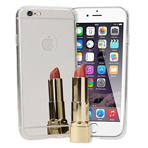 iPhone 6 6S Spiegel Hülle Handyhülle von NICA, Ultra-Slim Mirror Case Cover TPU Silikon-Hülle, Dünne Schutzhülle Backcover verspiegelt, Handy-Tasche Bumper Etui für Apple i-Phone 6S 6, Farbe:Silber