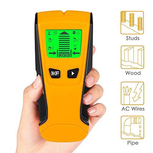 3-in-1 Multi Detektor Stud Finder für Metall Rohre Holz AC Strom Draht, Digitale Wand Scanner Ortungsgerät mit Großer LCD Tonwarnung Pinpoint Detektor