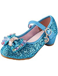 abedc75483cc Baterflyo Girls Princess Cosplay Party Shoes Glitter Mary Jane Dress Shoes  Low Heeled