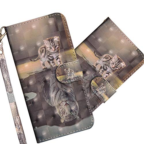 COTDINFOR LG V40 Hülle 3D-Effekt Painted cool Schutzhülle PU Leder Flip Bookcase Handy Tasche Schale mit Magnet Standfunktion Etui für LG V40 Cat Tiger YX.