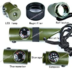 7 in 1 Emergency Survival Whistle Compass Thermometer LED Torch Mirror Magnifier