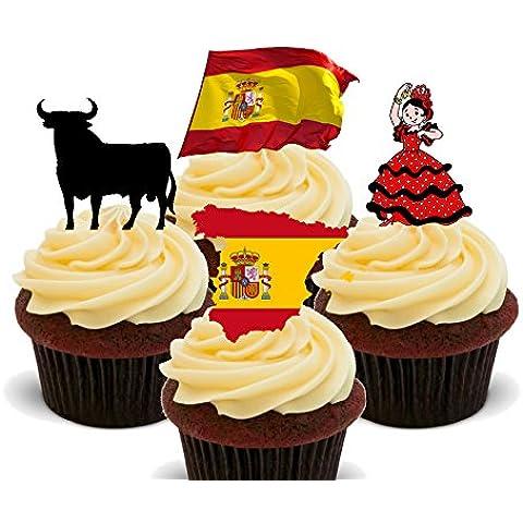 Fun Spagna, topper per Cupcake commestibile, Stand-up-Decorazioni per torta, motivo: Wafer, 12 pezzi