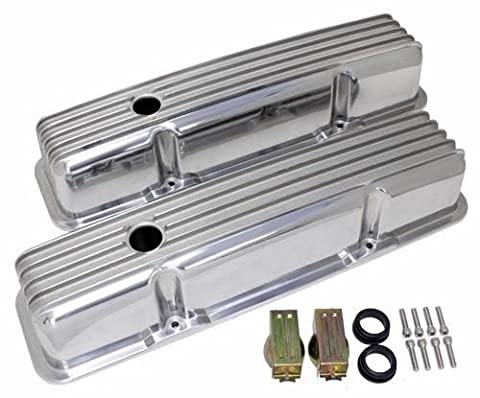 SBC Small Block Chevy Finned Tall Polished Aluminum Valve Covers W/ Holes 283 by DEMOTOR