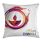 DAICHAI Diwali Decor Throw Pillow Cushion Cover, Rainbow Themed Colored Modern Image of Diwali Celebration Candle Fire Print, Decorative Square Accent Pillow Case, 18 X 18 Inches, Multicolor