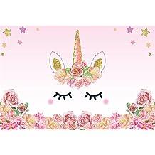 YongFoto 2,2x1,5m Vinilo Fondo de Fotografia Unicornio Rosa Rosas De Fiesta Borde De Las Flores Patrón Lindo Estrella De Oro Telón de Fondo Cumpleaños Fiesta Baby Shower Niños Bebé Chicas Bandera Estudio fotográfico Accesorios