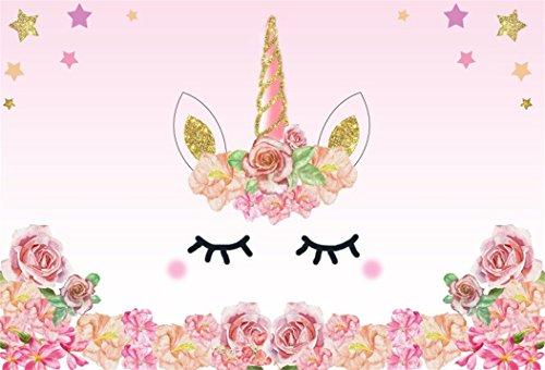 YongFoto 1,5x1m Fondo de Fotografia Unicornio Rosa Rosas Fiesta Borde Las Flores Patrón Lindo Estrella Oro Telón de Fondo Cumpleaños Fiesta Baby Shower Niños Bebé Chicas Bandera Estudio fotográfico