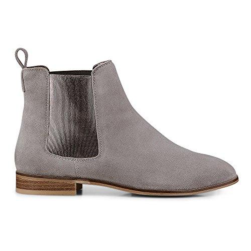Cox Damen Damen Chelsea-Boots Aus Leder, Graue Stiefelette mit Stretch-Einsatz Grau Rauleder 40