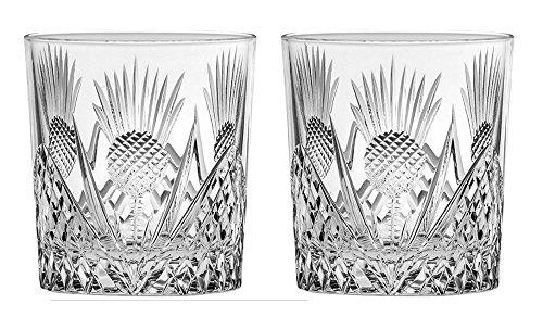 Royal Scot Kristall Schottische Distel Set von 2Hand Cut Crystal 312Große Whisky Tumbler Gläser in Geschenkverpackung -