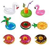 KATOOM 9er Aufblasbarer Getränkehalter Schwimmender Becherhalter Flamingo Palm Island Inflatable...