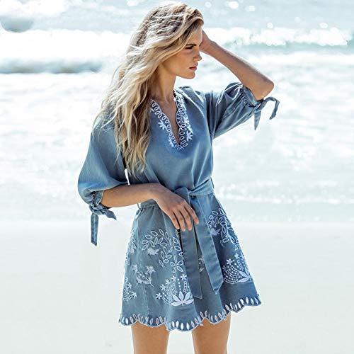 DAIDAILYQ V-Ausschnitt Rüsche Denim Kurzes Kleid Elegante Stickerei Schärpe Casual Urlaub Strand Sommerkleider (Schärpe Stickerei)