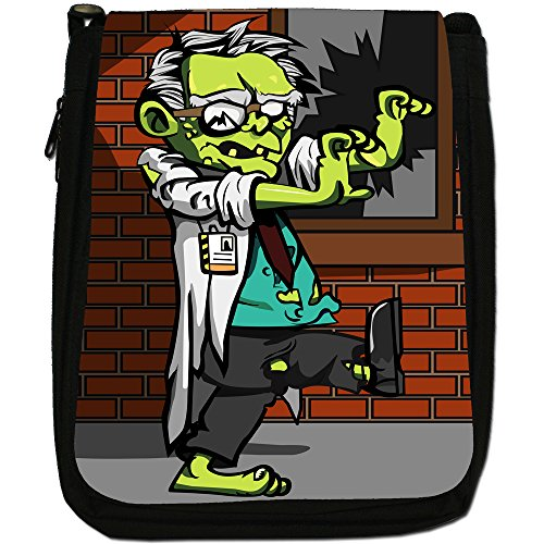Zombie Plague-The Living Dead-Borsa a tracolla in tela, colore: nero, taglia: M Nero (Scientist Zombie)