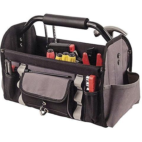 Offene Werkzeugtasche | Werkzeugkoffer ohne Inhalt | Profi-Werkzeugtasche | faltbar mit PVC-Boden | L38cmx W20cm x