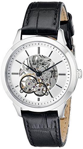 Invicta 18118 Women's Specialty Mechanical Silver Skeleton Dial Black Leather Strap Watch