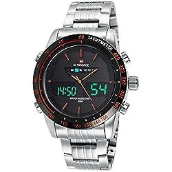 Sport Men Quartz Watch Luxury Stainless Steel Strap LED Calendar Analogue&Digital Casual Wristwatch,Silver-Orange