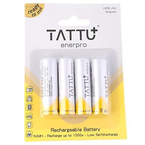 Tattu Rechargeable NiMH AA baterías de-Batería Pilas, 2100mAh 1.2V 4Unidades, with out Memory Effect