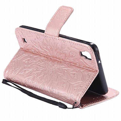 LEMORRY LG X power Custodia Pelle Cuoio Flip Portafoglio Borsa Sottile Bumper Protettivo Magnetico Morbido Silicone TPU Cover Custodia per LG X power (K220, US610), Fiorire Porpora Oro rosa