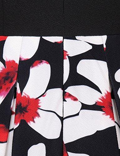 Bright Deer Kleider Damen Midi Lange Vintage Empire Blume Gedruckten Swing Gefalteten Kleid Business Parteiarbeit Freizeit Herbst Kleider Dames Kleding Schwarze blumen