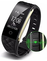 Fitness Tracker, Yoolaite Fitness Armband mit Pulsmesser, pulsmesser armband, IP67 Wasserdicht smart Aktivitätstracker Schrittzähler Kalorienzähler Sport Uhr Fitness Uhr für iOS und Android (iPhone 7, Samsung S8, Huawei, LG, Sony, schwarz usw)