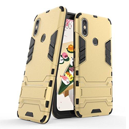 Funda para Xiaomi Mi 6X/Mi A2 (5,99 Pulgadas) 2 en 1 Híbrida Rugged Armor Case Choque Absorción Protección Dual Layer Bumper Carcasa con pata de Cabra (Dorado)