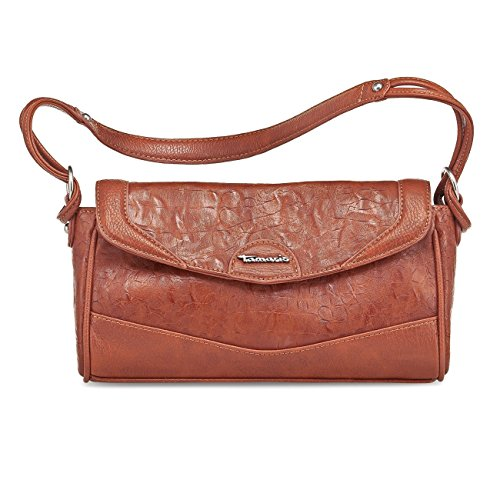 TAMARIS EGLE Handtasche, Baguette-Bag, Kroko-Prägung, 5 Farben: schwarz, mocca braun, pepper, pumpkin braun oder bottle grün pumpkin braun