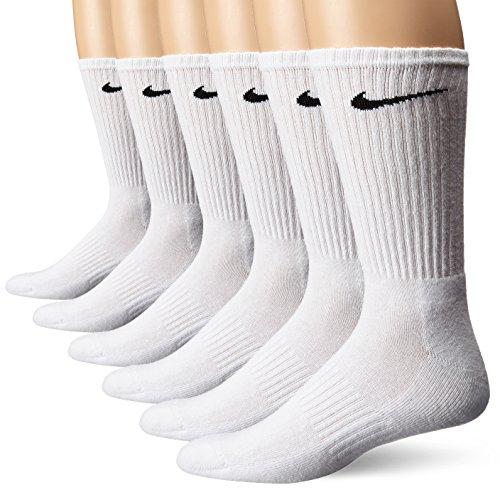 Nike Performance Baumwolle gepolstert Weiß 6 Pack Crew Socken Große (Nike Performance Socken Gepolstert)