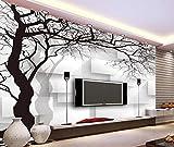 Fototapete 3D Effekt Tapete Handgezeichnete Schwarze Und Weiße Wand Abstrakte Baum Vliestapete 3D Wallpaper Moderne Wanddeko Wandbilder