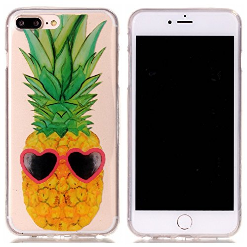 iPhone 7 Plus Coque,iPhone 7 Plus Cover,iPhone 7 Plus Silicone Case - Felfy Ultra Light Mince Slim Gel Souple Soft Flexible TPU Cas Color Motif Couvrir Protector Housse Anti Scratch Couverture de Prot Ananas