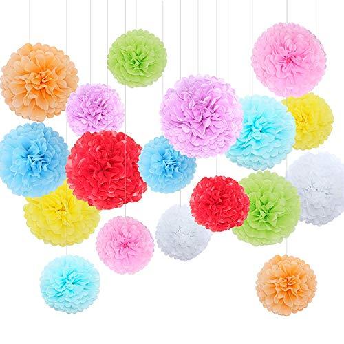 Feelshion 18x Seidenpapier Farbig Pompons Set als Geburtstag Kindergeburtstag Hochzeit Gartenparty Dekoration