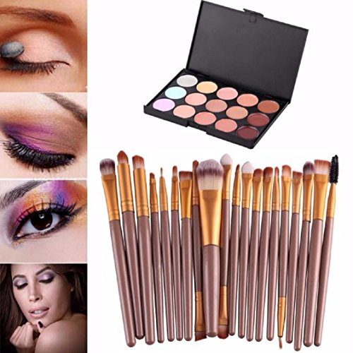 Vovotrade 15 couleurs Crème Contour Maquillage Correcteur Palette professionnelle + 20 Brush