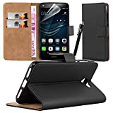 Huawei Y6 ll Compact Case Cover [Premium Leather] + Free Huawei Y6 ll Compact Screen Protector With Microfibre Polishing Cloth (Black)