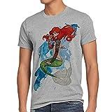 style3 Arielle TATTOO Herren T-Shirt meerjungfrau biker motorrad punk rock, Größe:M;Farbe:Grau meliert