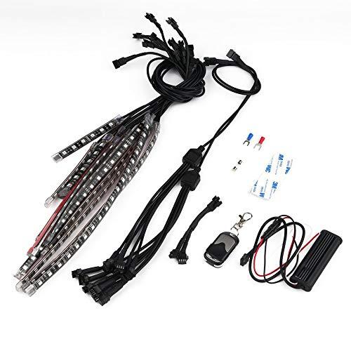 Luz de Tira de LED, 12 Piezas de retroiluminación polarización Kits de iluminación Remoto inalámbrico LED SMD luz Intermitente Impermeable, para HDTV, Motocicleta, decoración