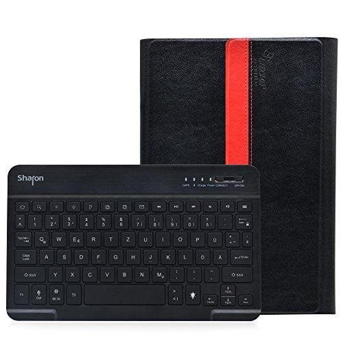 Sharon Galaxy Tab A 9.7 Hülle mit beleuchteter Bluetooth - Tastatur | Ultraslim Schutzhülle | QWERTZ- Layout (Deutsch) | Tastatur herausnehmbar | Hintergrundbeleuchtete Tasten, Farbe einstellbar